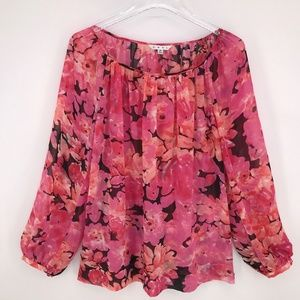 CAbi Pinky Floral Print Blouse